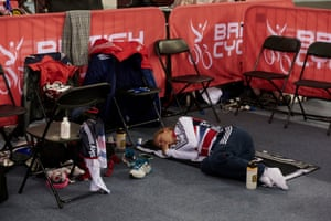 Between each race, she takes any chance to get some sleep to help her body recover.