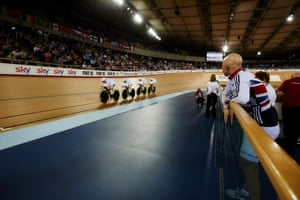 Missing from the final race line-up, birthday girl Joanna Rowsell cheers on from trackside.