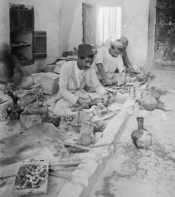 Early 20th-century mother-of-pearl workers in Palestine.