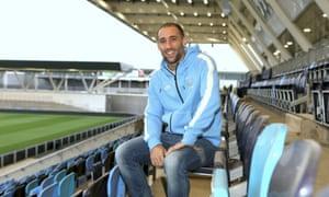 Pablo Zabaleta poses at Manchester City's new training complex