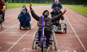 Pupils from Lancasterian School at the Wythenshawe Wheelers all ability cycling club in south Manchester.