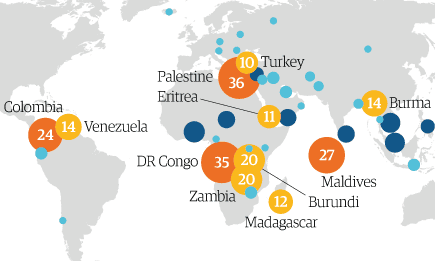 Cases of human rights abuses of MPs mapped by country. See below for the full graphic