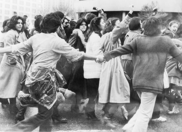 Women in Tehran protest against the hijab in March 1979.