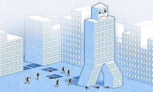 Walking skyscraper illustration by Matt Kenyon