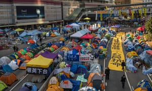 Banners and tents set up by pro-democracy protesters outside the government headquarters at Admiralty in Hong Kong.
