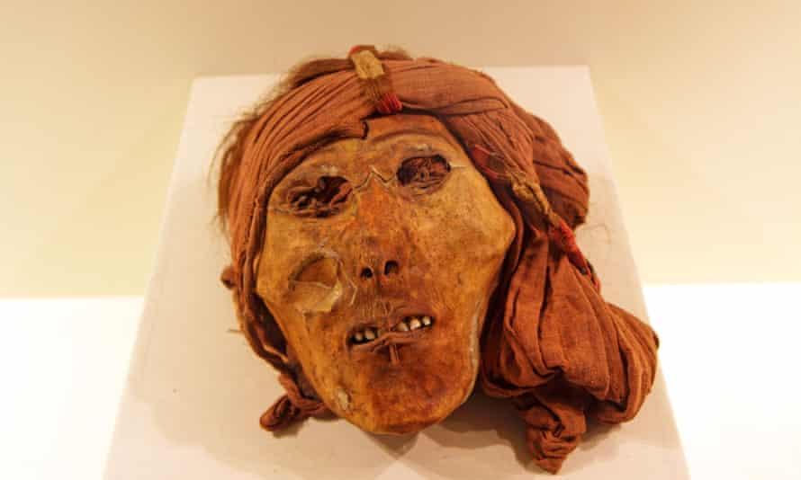 A shrunken human head at the National Museum, Lima, Peru