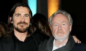 Christian Bale (left) and Ridley Scott at a party to celebrate the premiere of Exodus: Gods and Kings.