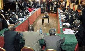 Earlier peace talks in January 2014 in Addis Ababa failed to resolve the conflict. Both South Sudanese government representatives (right) and South Sudanese opposition representatives (left) were present.