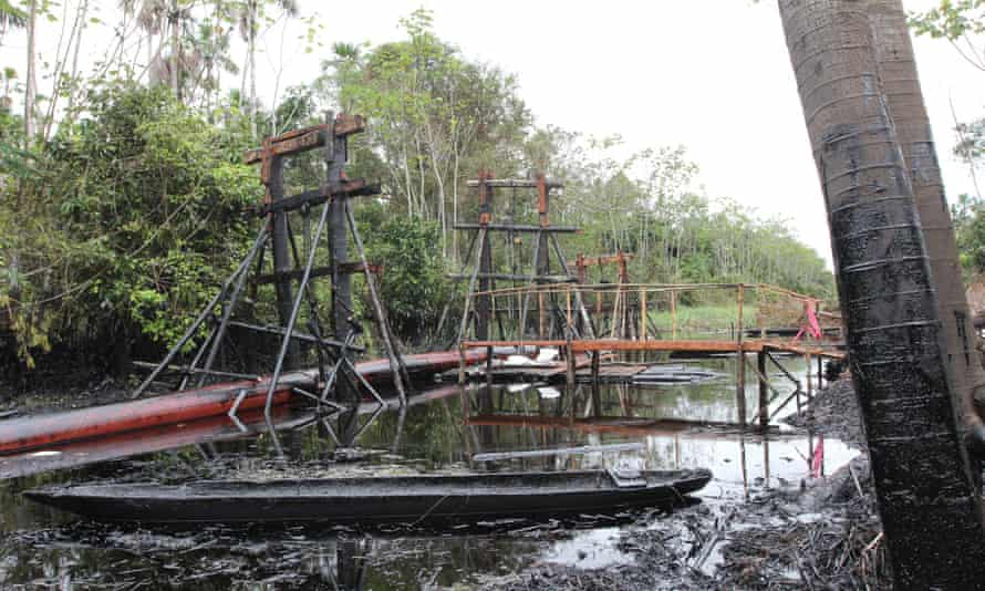 Scaffolding holds a broken section of the oil pipeline.