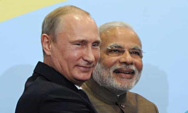 Vladimir Putin and Narendra Modi at the Brics summit in July.