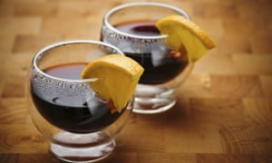 Two glasses of mulled wine.