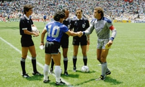 Diego Maradona of Argentina shakes hands with Peter Shilton of England