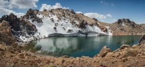 Mount Sabalan is a dormant volcano with the crater now a small lake that freezes in winter. The angle of the sun means the small remains of the glaciers are slightly more protected than the side in full sun where there isn't any ice left.