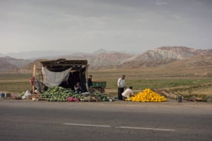 The whole region has a lot of agricultural produce, some of which is sold roadside, although most is shipped to the big cities. Agricultural sector accounts for about 1/5 of the GDP and employs one-third of the Iranian workforce.