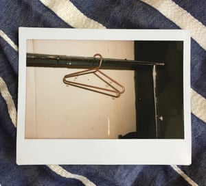 A photograph of a coat hanger in the changing room