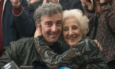 Estela de Carlotto, president of Grandmothers of Plaza de Mayo, with her grandson Guido, who was finally identified by the group in August 2014.