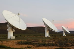 Radio telescope dishes of the KAT-7 Array at the proposed South African site for the Square Kilometre Array (SKA) telescope near Carnavon