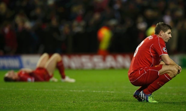 Steven Gerrard and Liverpool are down and out