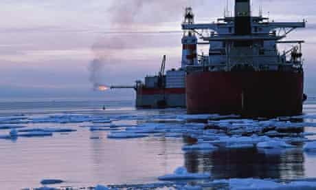 Ocean freighters in icy waters
