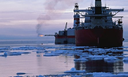 Ocean freighters in icy waters