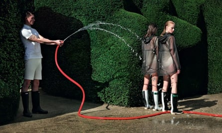 Hunter's new campaign shows off its wellies and 'water-resistant clear smocks', aka cagoules.