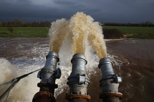 Flood water is seen pumped into the river at the pumping station near Fordgate on the Somerset Levels near Bridgwater in Moorlands, United Kingdom.