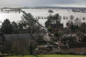 Burrowbridge immersed in water after flooding on February 9, 2014 in Somerset, England.