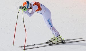 Bode Miller of the United States reacts after finishing his run during the Alpine Skiing Men's Downhill at the Sochi 2014 Winter Olympic Games