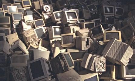 Pile of computer monitors