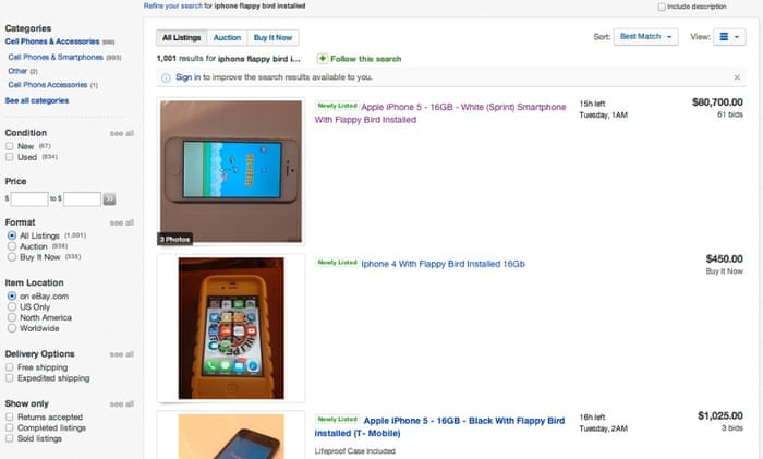 Flappy Bird phones' on sale on eBay from $300 to $90,000