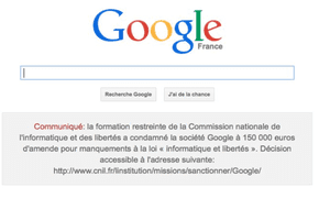 Google.fr with link to CNIL decision
