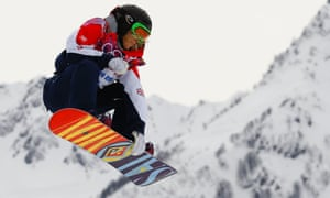 Britain's Jenny Jones performs a jump during the women's snowboard slopestyle finals