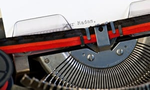 type writer with dear madam written - Presentation Letter Examples