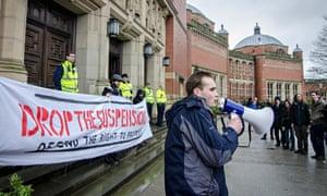 Protest against Student Suspensions at the University of Birmingham