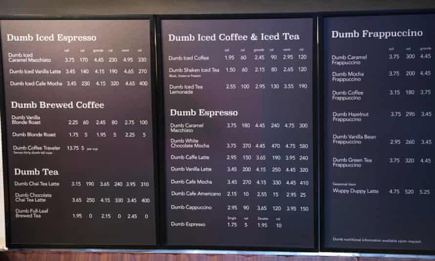 Dumb Starbucks menu