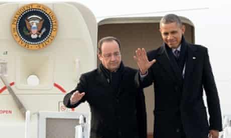 Hollande and Obama arrive in Charlottesville.