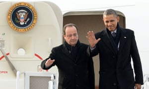Hollande and Obama arrive in Charlottesville.