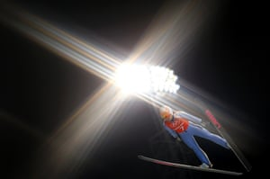 Lindsey Van from the U.S. soars through the air during the women's ski jumping individual normal hill training event of the Sochi 2014 Winter Olympic Games, at the RusSki Gorki Ski Jumping Center in Rosa Khutor.