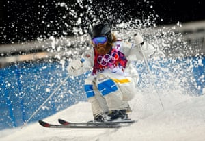 Sweden's Per Spett competes in the men's moguls finals at the Rosa Khutor Extreme Park at the 2014 Winter Olympics, in Krasnaya Polyana, Russia.