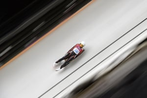 Latvia's Ulla Zirne competes during the Women's Luge Singles run one at the Sliding Center Sanki during the Sochi Winter Olympics.