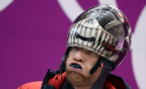 Canada's Eric Neilson takes part in a men Skeleton official training at the Sanki Sliding Center in Rosa Khutor during the Sochi Winter Olympics.