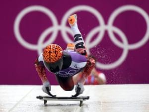 Canada's John Fairbairn takes part in a men Skeleton official training at the Sanki Sliding Center in Rosa Khutor during the Sochi Winter Olympics.