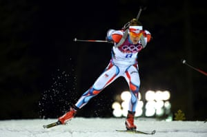 Ondrej Moravec of the Czech Republic competes in the Men's 12.5 km Pursuit during day three of the Sochi 2014 Winter Olympics at Laura Cross-country Ski & Biathlon Center in Sochi, Russia.