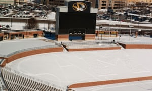 """""""Sam"""" is spelled in the snow on the north side of Missouri's Memorial Stadium, Monday, Feb. 10, 2014 in support of Michael Sam."""