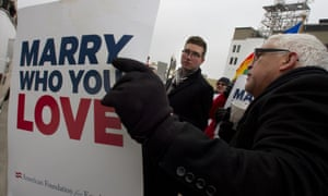 A protest in the US supporting gay marriage