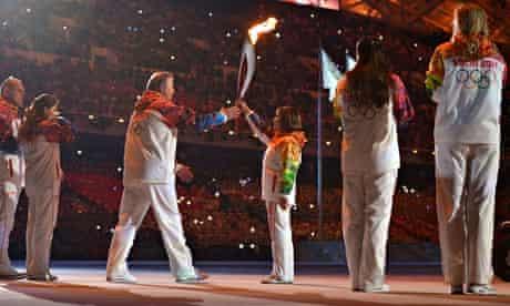 Irina Rodnina at Sochi opening ceremony