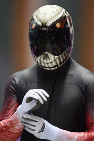 Canada's Eric Neilson has plumped for a demonic looking skeleton. Rather apt, given his sport.
