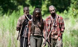 Michonne (Danai Gurira) with walkers