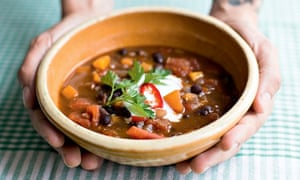 Mexican chocolate, chilli and black bean soup