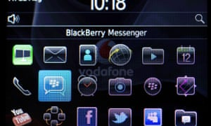 BlackBerry Messenger on a BlackBerry Curve 9300 smartphone: the chief of the division has abruptly left the company.